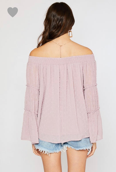 Mauve Swiss Dot Off The Shoulder Blouse