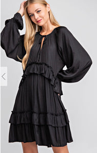 Black Ruffled Tie Front Dress