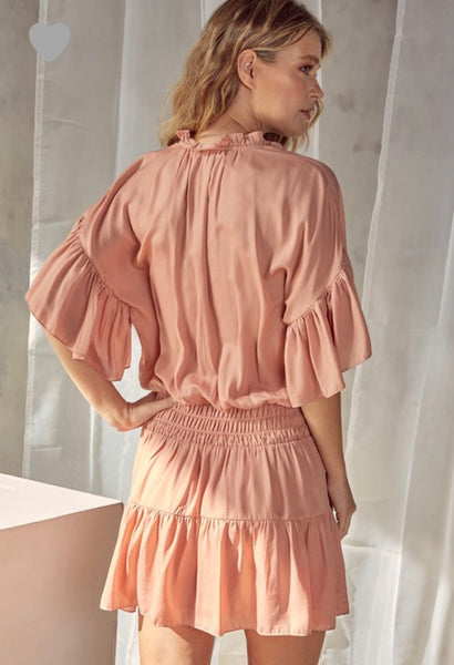 Baked Peach Smocking Dress