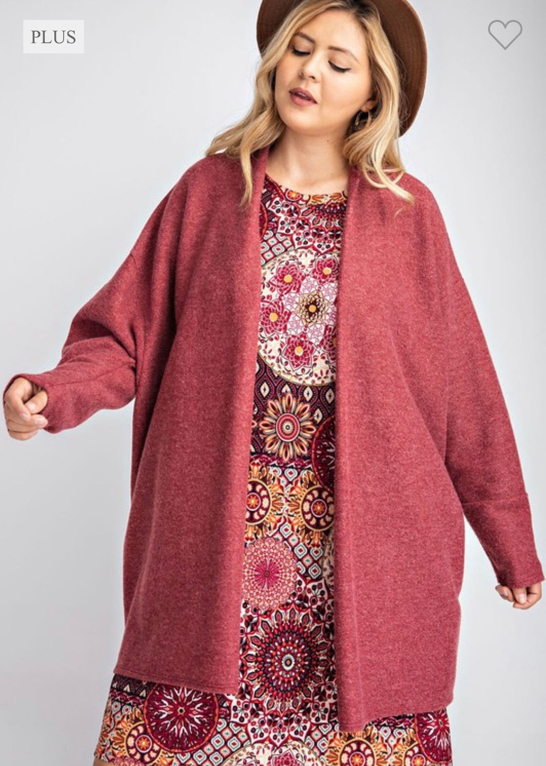 Burgundy Brushed Cardigan Curvy