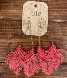 Pink Tassel Braided Earrings