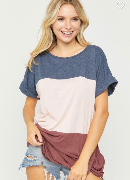 Navy Multi Block Top