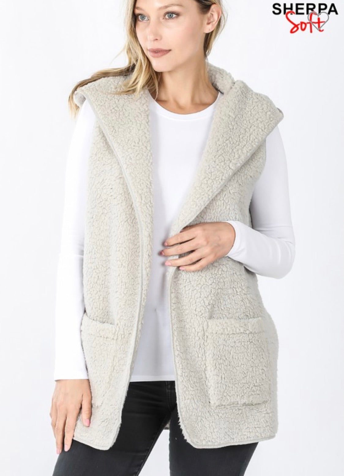Light Grey Sherpa Vest