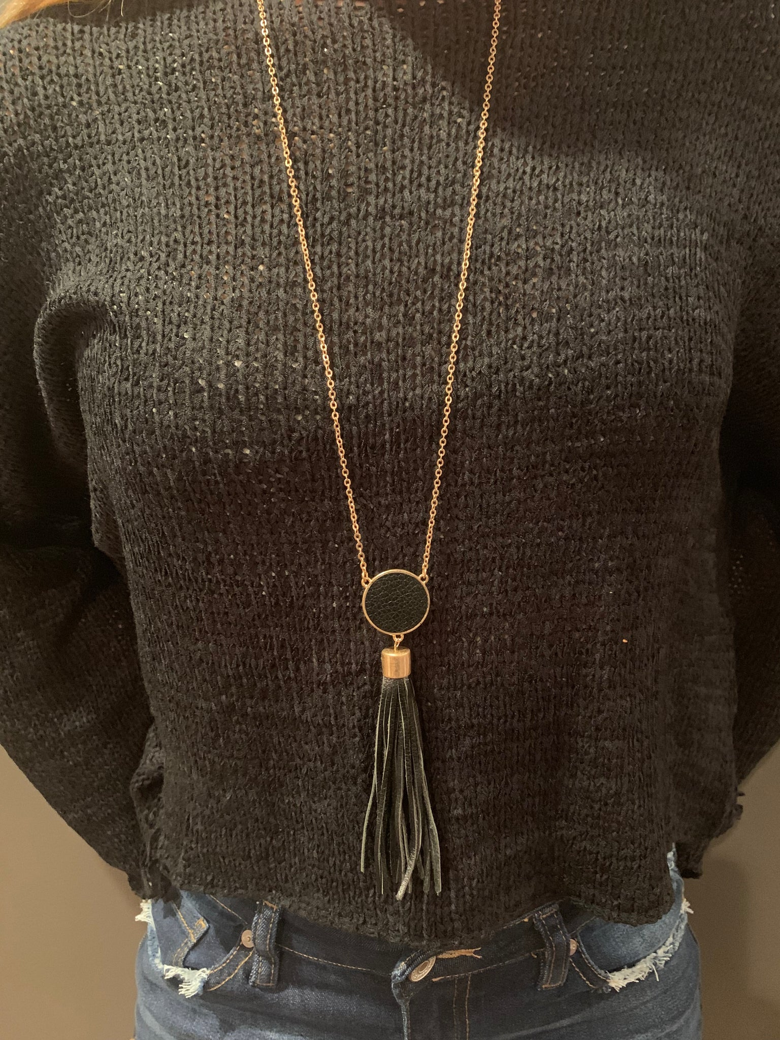 "Black Leather 34"" Tassel Necklace"
