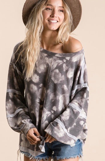 Grey Tie Dye Vintage Top