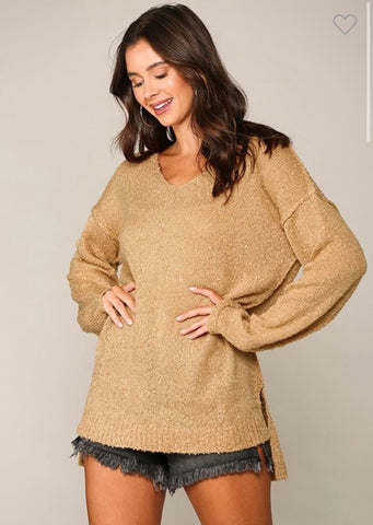 Light Camel  V-Neck Sweater