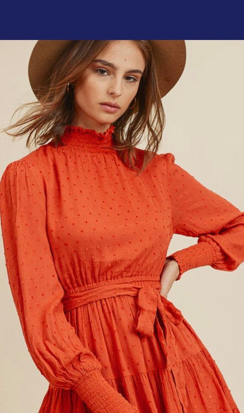 Rust Swiss Dot Mock Neck Dress