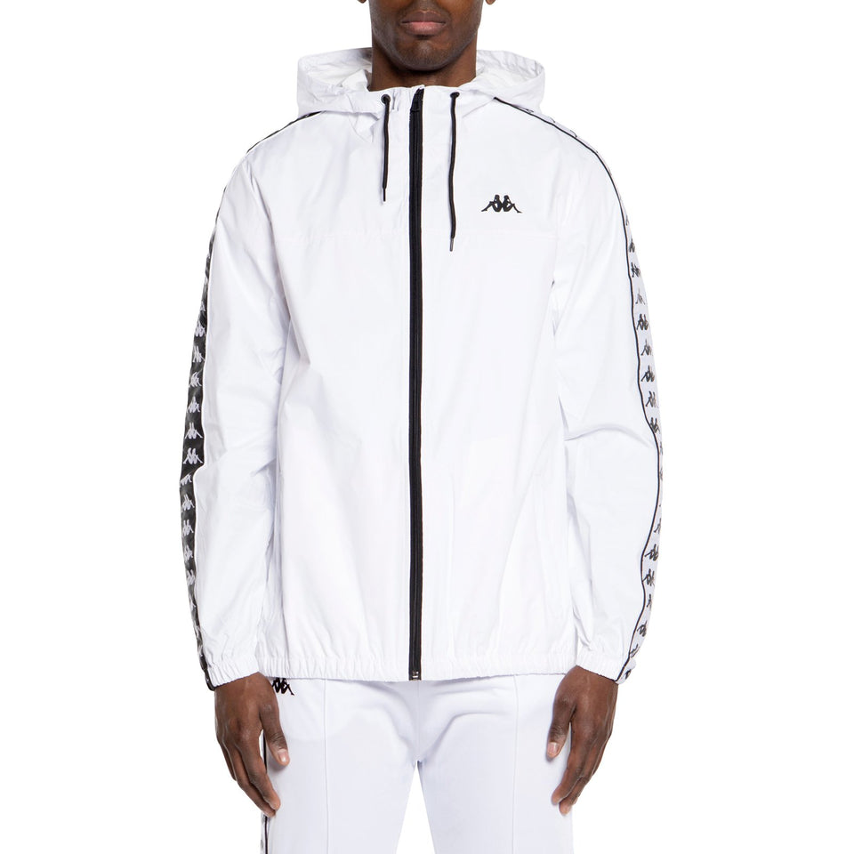 BANDA DAWSON MEN'S SLIM FIT RAIN HOODED JACKET COLOR WHITE-BLACK