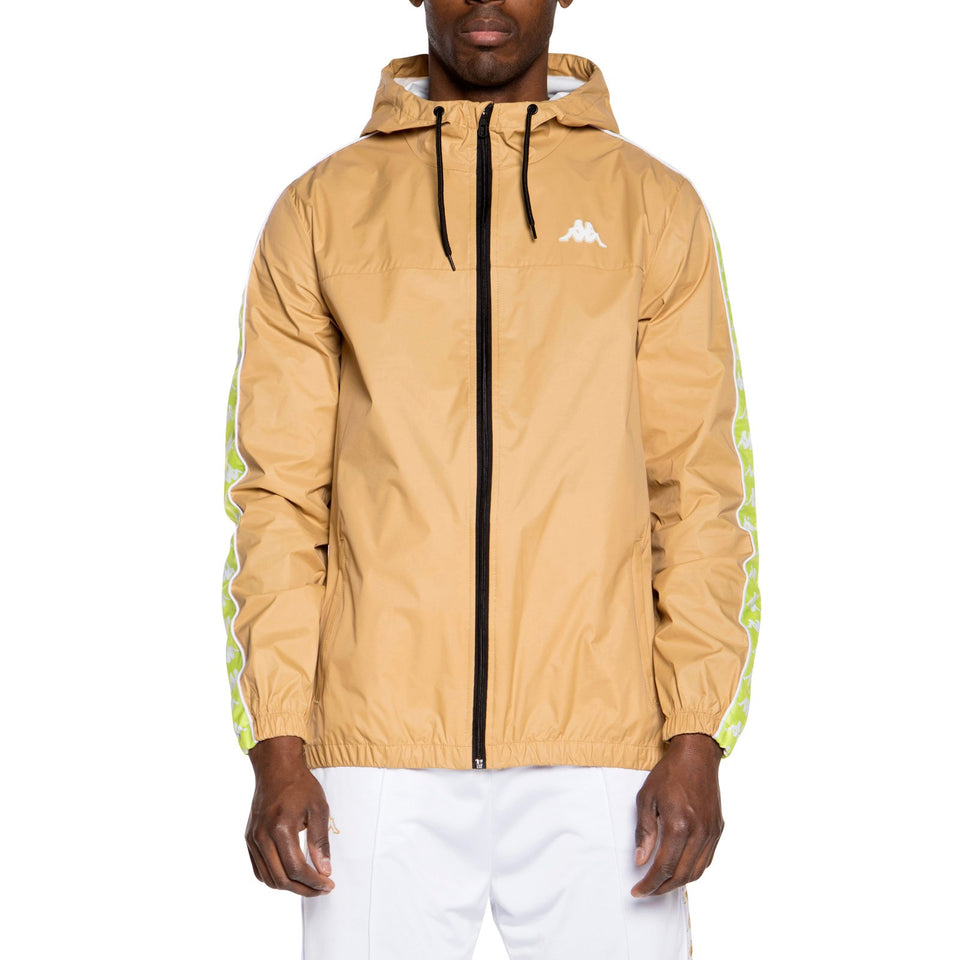 BANDA DAWSON MEN'S SLIM FIT RAIN HOODED JACKET COLOR BEIGE-LIME