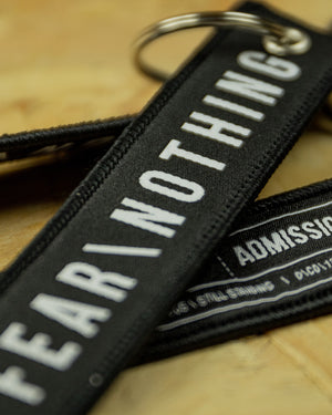 Black/White Fear Nothing D-Tag Key Ring