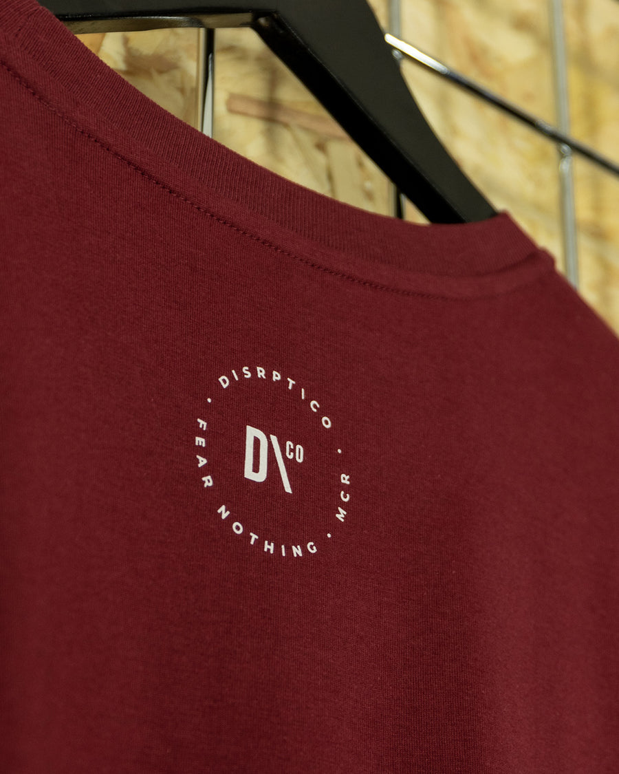 Burgundy/White Big Signature Crewneck