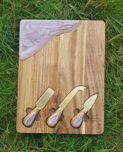 32cm x 25cm Cheese Board/grazing board with 3 cheese knives inlayed - Made to order