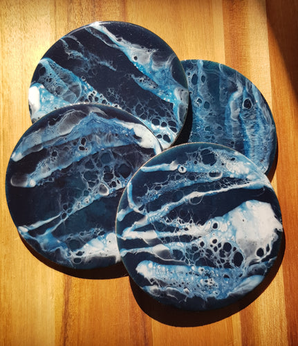 Deep Blue -  Set of round coasters