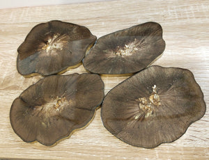 Brown and Gold Geode coasters - set of 4