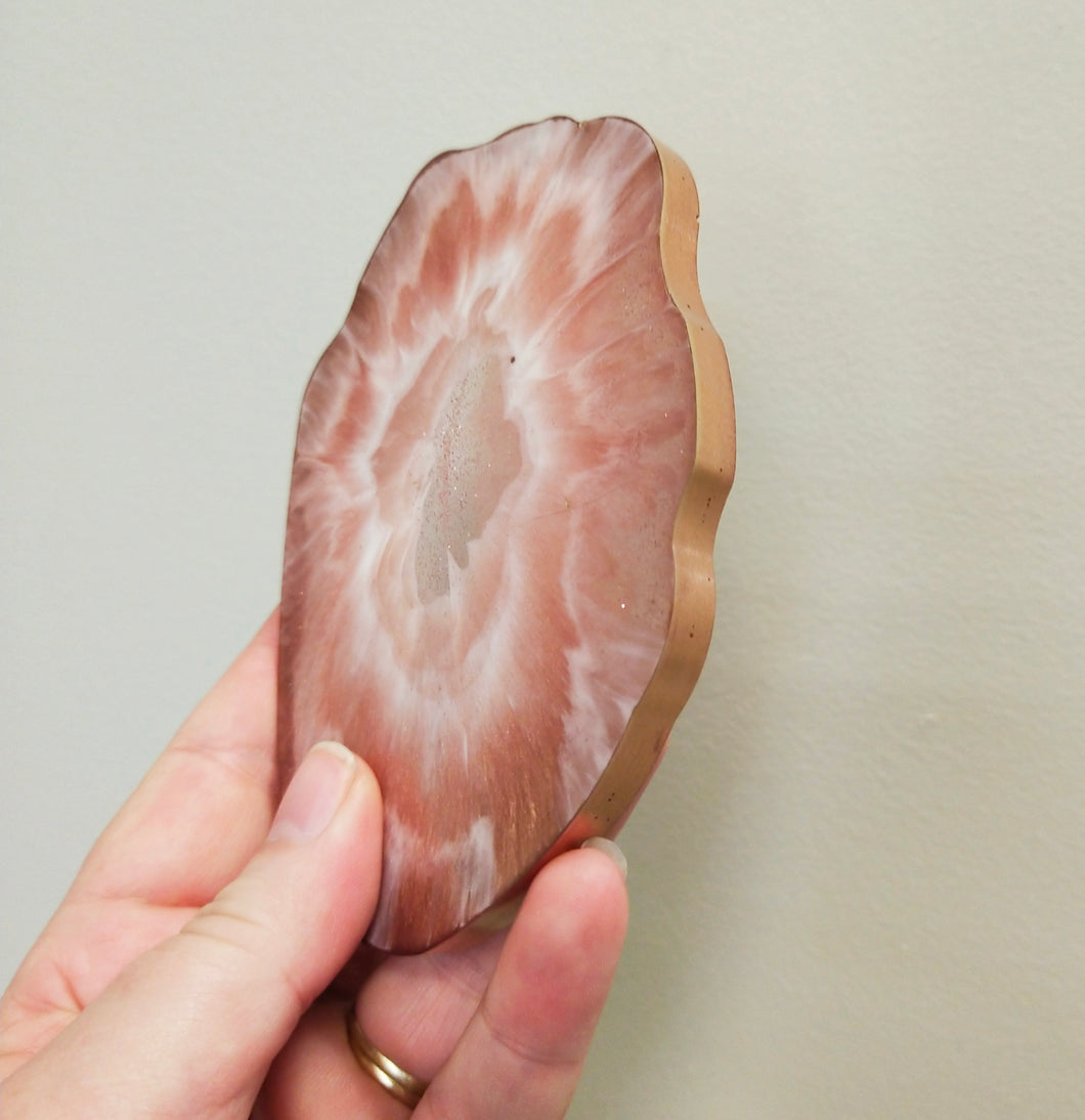 Rose Gold and White Geode coasters - set of 4