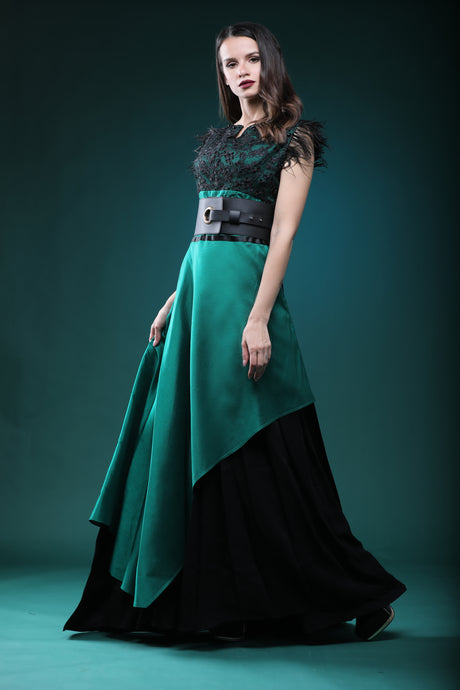 Emerald silk dress