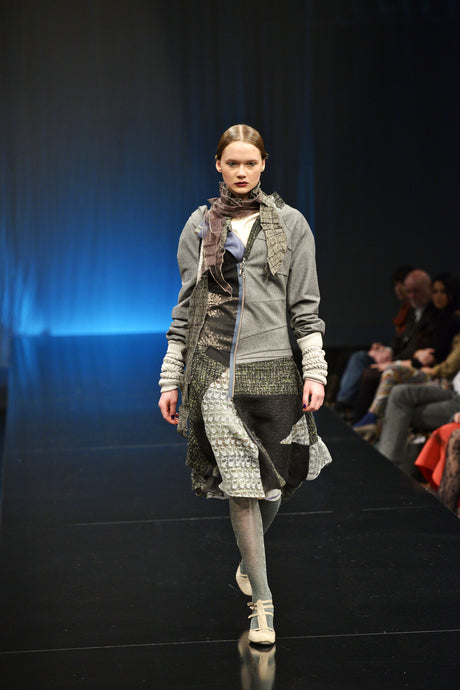 Asymmetrical wool coat