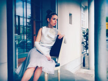 Load image into Gallery viewer, Chiffon grey silver skirt