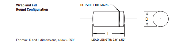 916D Series - Metallized Polypropylene Audio Capacitors - Figure 2: Wrap and fill found configuration drawing