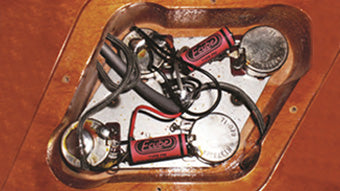 Figure 5: Tom Colella's Set-up in the Gibson Les Paul using Electrocube Type PM Retro Capacitors