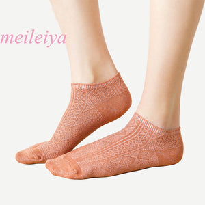 MEILEIYA 20 pairs/bag Cotton socks Fashion Women's socks Japanese Two-needle Stitching pattern thread Invisible Socks Boat Socks