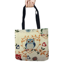 Load image into Gallery viewer, Storage Bags Color Owl Printed Shopping Tote Linen Bag For Food Convenience Women Shoulder Handbags 1 PCS/Lot