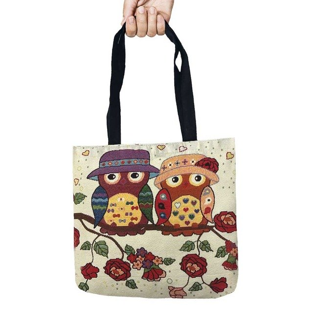 Storage Bags Color Owl Printed Shopping Tote Linen Bag For Food Convenience Women Shoulder Handbags 1 PCS/Lot