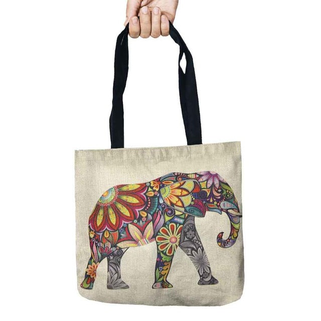 Color Skull Storage Bags Cute Printed Shopping Tote Linen Bag For Food Convenience Women Shoulder Handbags 1 PCS/Lot