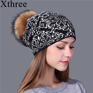 Xthree china bule and white style wool Knitted winter Hat for Women Beanie Skullies Warm Female  Gravity Falls Cap Gorros