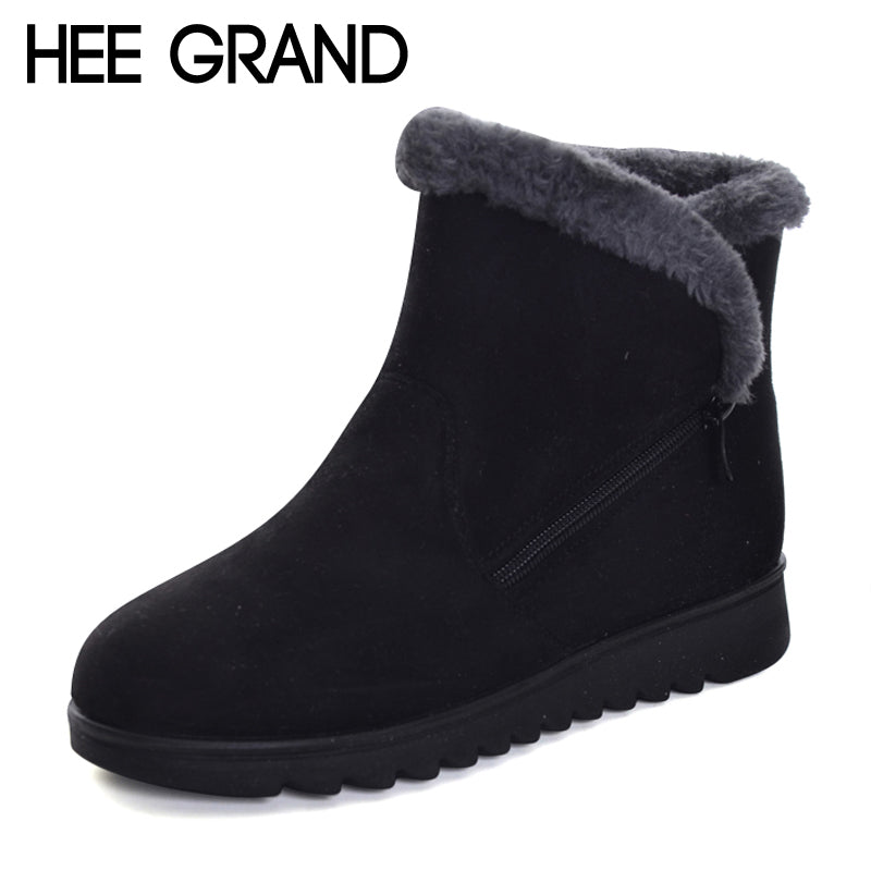 HEE GRAND Flock Winter Warm Faux Fur Snow Fashion Solid Ankle Boots Casual Women Mother Flats Shoes Woman Size 35-41 XWX6336