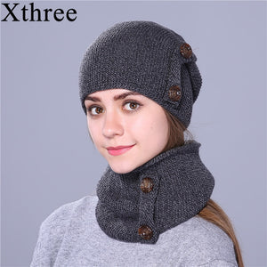 4a0479d8eca Xthree fashion winter hat for women and men knitted hat beanie hat scarf  brand new thick cap