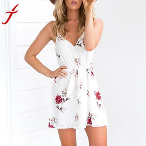 Camisole Summer Dress Sexy Women Sleeveless Floral Printing V Neck Bohemian Spaghetti Strap elegant vintage casual dress vestido