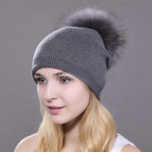 Load image into Gallery viewer, HEE GRAND Women's Hat Winter Knitted Beanies Unisex Wool Raccoon Hats Feather Hats for Man Fur Beanie Skullies Dropship PMT089