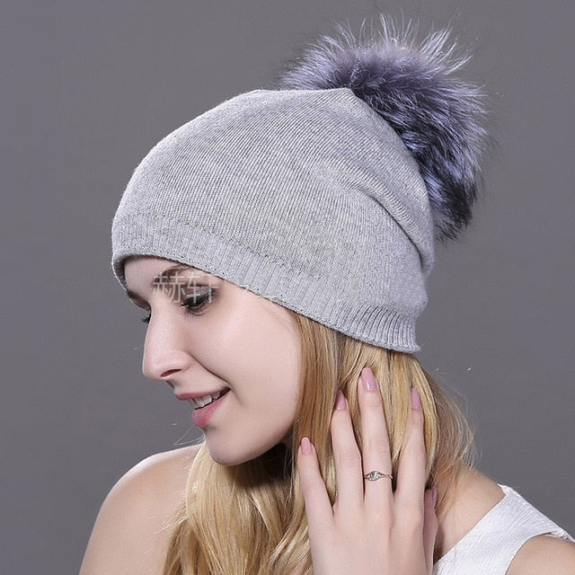 HEE GRAND Women's Hat Winter Knitted Beanies Unisex Wool Raccoon Hats Feather Hats for Man Fur Beanie Skullies Dropship PMT089
