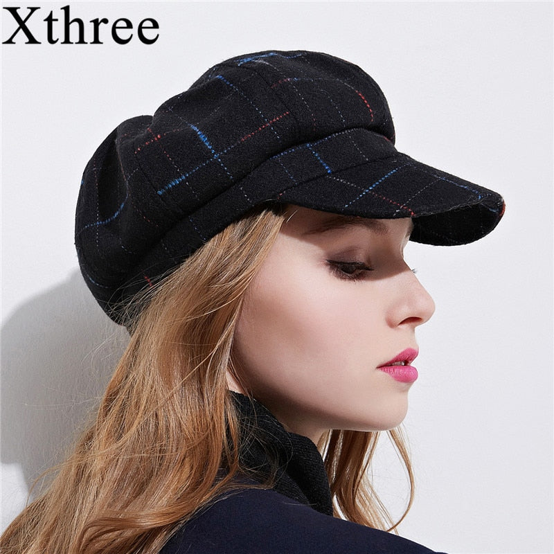 Xthree women's cottoon octagonal cap winter hat with visor fashion cap girl spring hat