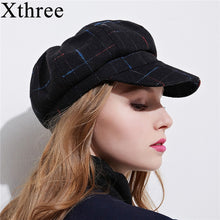 Load image into Gallery viewer, Xthree women's cottoon octagonal cap winter hat with visor fashion cap girl spring hat