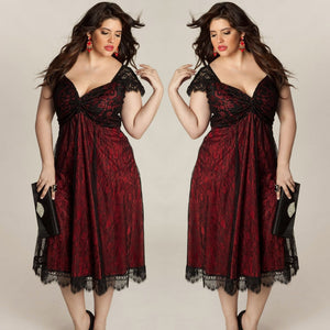 Plus Size Women Sleeveless Lace Long Evening Party Prom Gown Formal Dress