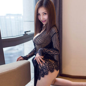 Sexy Lingerie Female Silk Pajamas Lace Floral Evening Dress Pad Pajamas