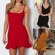 Load image into Gallery viewer, Women Lady Sexy Off Shoulder Sleeveless Mini Dress Ruffle Irregular Dress
