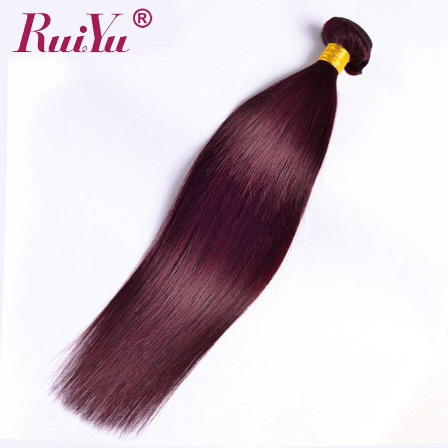 Ruiyu Burgundy Brazilian Hair Weave Bundles Straight Human Hair
