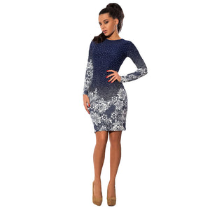 Women Dress Polka Dot Floral Print Round Neck Long Sleeve Bodycon Mini Night Club Party One-Piece Dark Blue
