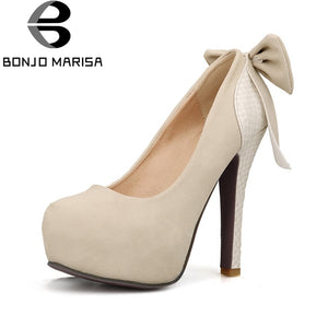 BONJOMARISA Women's Sweet Bowtie Shoes Woman Sexy High Heels Round Toe Party Wedding Platform Pumps Plus Size 33-46