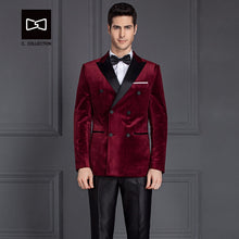 Load image into Gallery viewer, Tailor-made Suit Men Double Breasted Velvet Suit Wine Red Slim fit Groom Wedding Suit Men Blazer Tuxedo 2 Pieces No.SZ160Y7