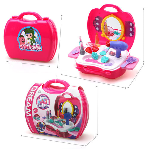 Baby Girls Make Up Pretend Play Toy Portable Plastic Cosmetics Case Educational Toy Gift for Kids