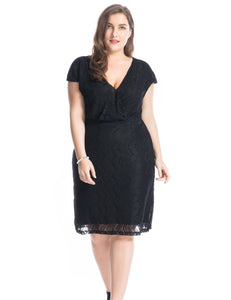 Chicwe Women's Lined Plus Size Lace Dress with Cross-Over V-Neck 1X-4X