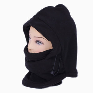 Unisex Balaclava Hat Multi-function Thermal Fleece Hood Cold Whether Ski Bike Wind Stopper Mask New Caps for Outdoor Sports Color:Black