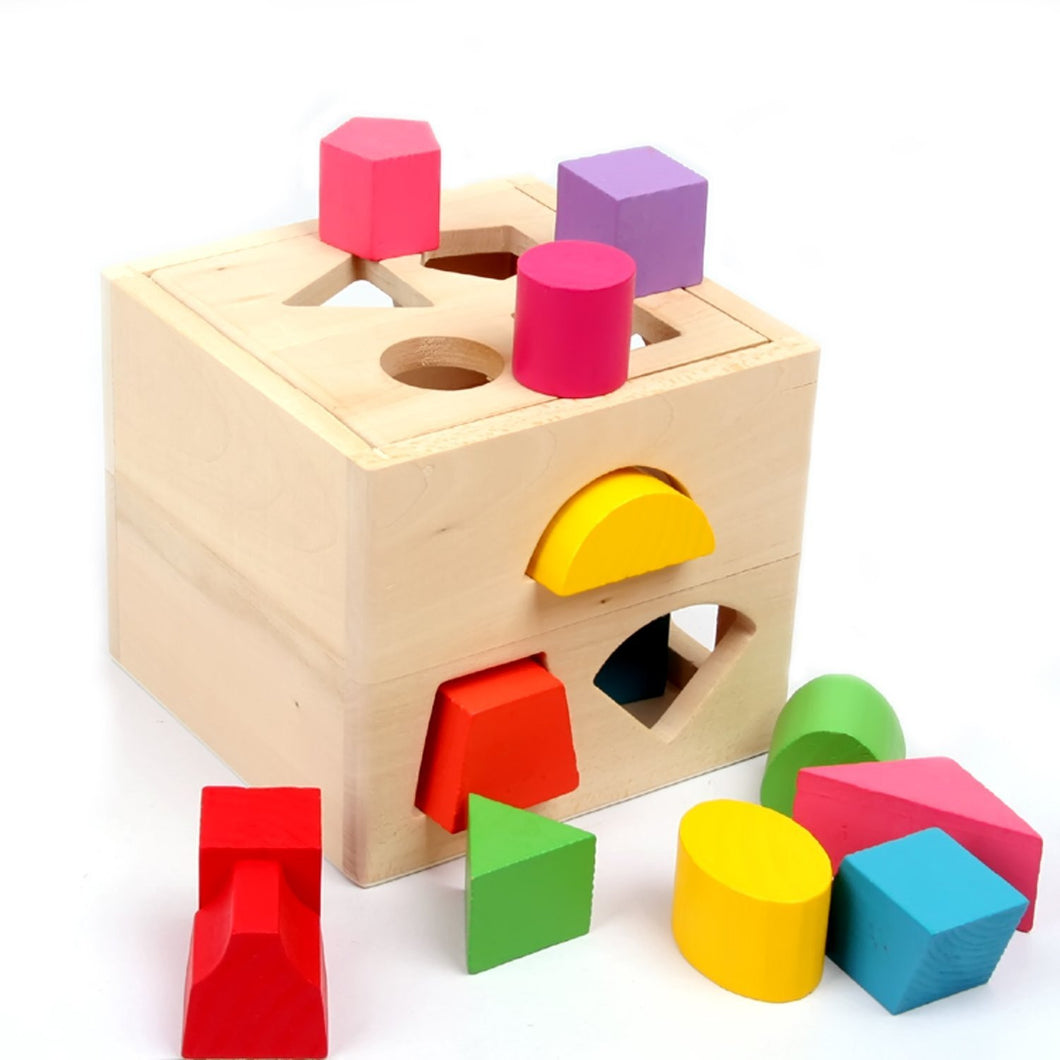 Wood Geometric Square Shape Sorter Cube,Color Recognition Intelligence Matching Wooden Toys