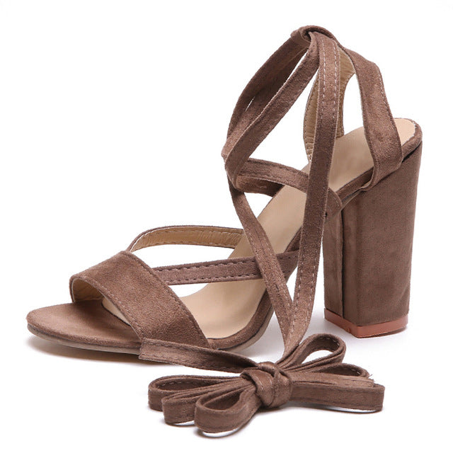 HEE GRAND Summer Women Sandals OL Style Platform Square Low Heels Flock Ankle Strap Pumps Shoes Woman Spring Size 35-39 XWZ4795