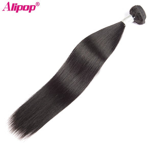 "Brazilian Straight Hair Weave Bundles Remy Human Hair Bundles 10""-28"" ALIPOP Double Weft Hair Extension Natural Black 1 bundles"