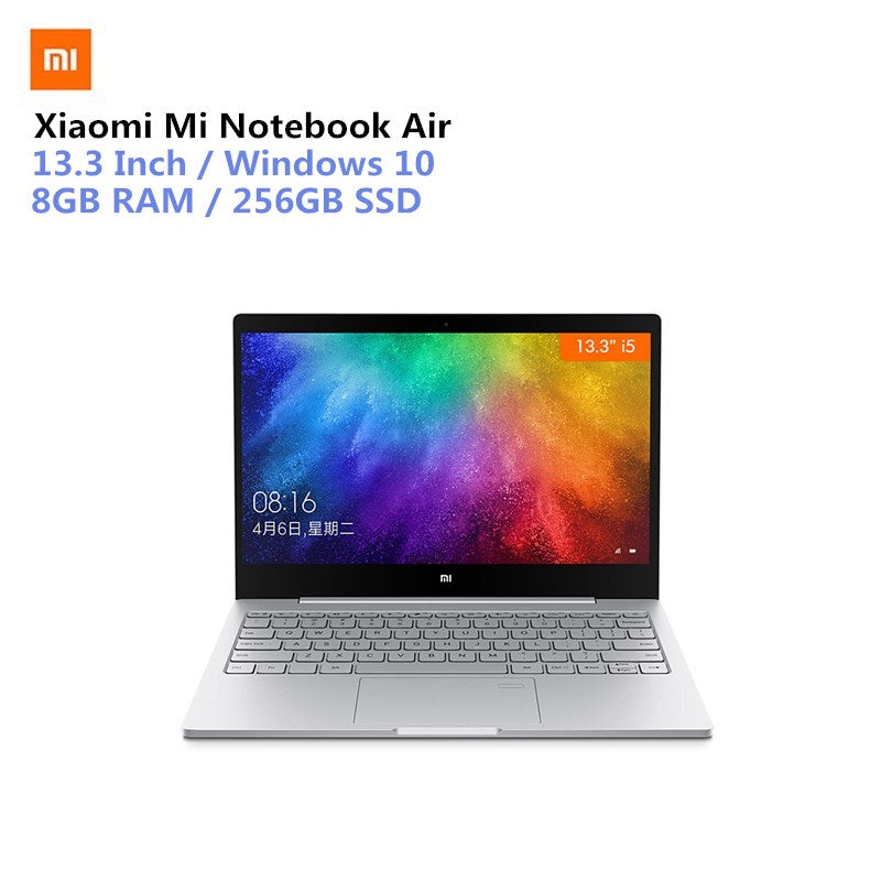 Xiaomi Mi Notebook Air 13.3 Win10 CN Version Intel Core I5-7200U Dual Core 2.5GHz 8GB RAM 256GB SSD Fingerprint Sensor Type-C